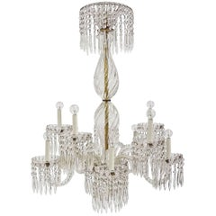 Antique Baccarat Undulating 10-Armed Crystal Waterfalls Chandelier