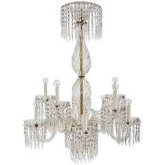 Crystal and Glass Chandelier with Ten Lights
