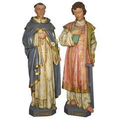 Religiöse Figuren St. Dominique und St. Laurent, 19. Jahrhundert