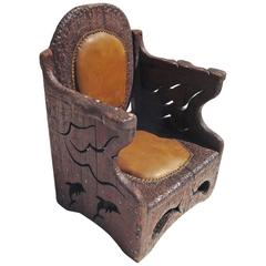 1960s Hand-Carved Folk Art Armchair in an Underwater Theme