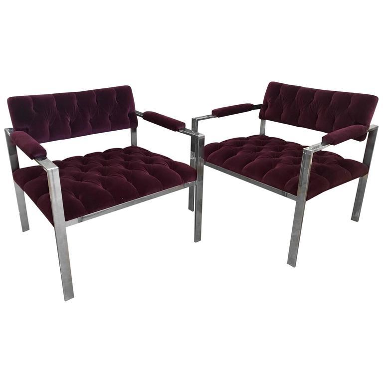 Harvey Probber Pr Mid-Century Modern Chrome, New Velvet Tufted Arm Lounge Chairs