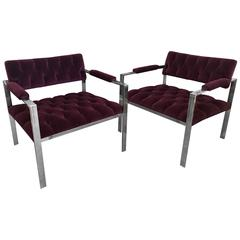 Harvey Probber Pr Mid-Century Modern Chrome, New Velvet Tufted Arm Lounge Chairs