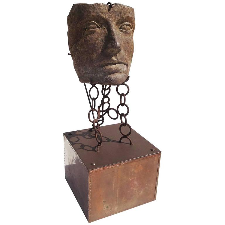 Monumental Facial Profile Sculpture on Elaborate Steel and Copper Base For Sale