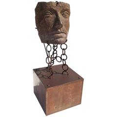 Monumental Facial Profile Sculpture on Elaborate Steel and Copper Base