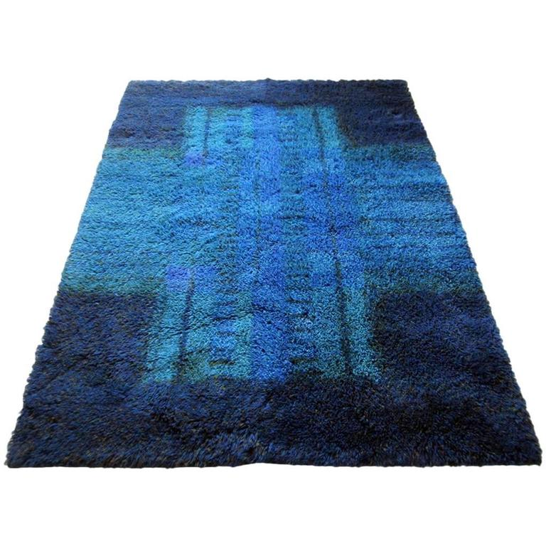 Blue And White Scandinavian Rug: Blue Scandinavian Rya Rug By Ritva Puotila 1960s For Sale