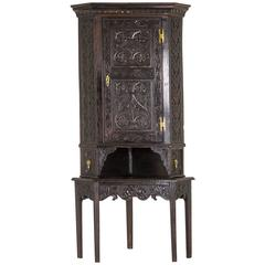 Corner Cabinet Antique Oak Cabinet Victorian Cabinet Scotland, 1830