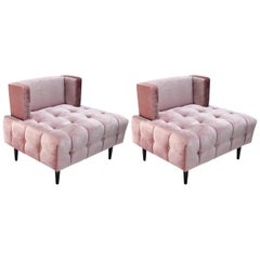 Pair of Custom Pink Silk Velvet Tufted Lounge Chairs