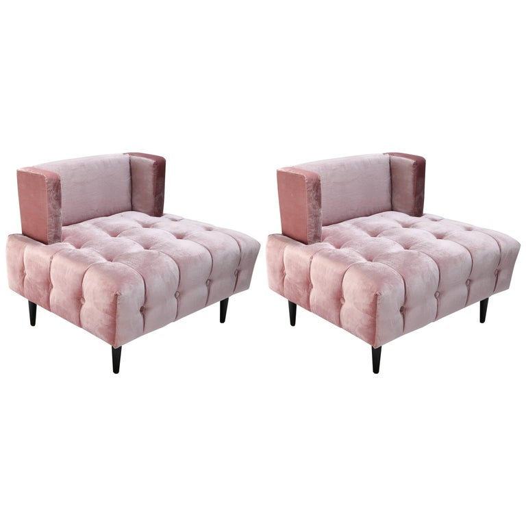Excellent Pair Of Custom Pink Silk Velvet Tufted Lounge Chairs By Adesso Imports Ocoug Best Dining Table And Chair Ideas Images Ocougorg