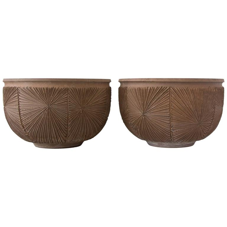 Pair of Robert Maxwell and David Cressey Earthgender Large Bowl Planters