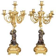 Pair of Putti Bronze Candelabras