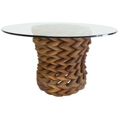 Sculptural Brazilian Reclaimed Ipe Wood Table Base by Valeria Totti