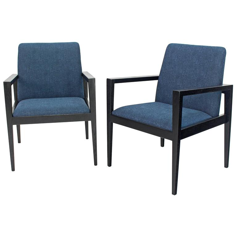 Pair of Mid-Century Modern Ebonized Lounge Chairs For Sale