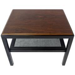 Rosewood Top Black Lacquer Base with Cane Shelf Side Coffee Table