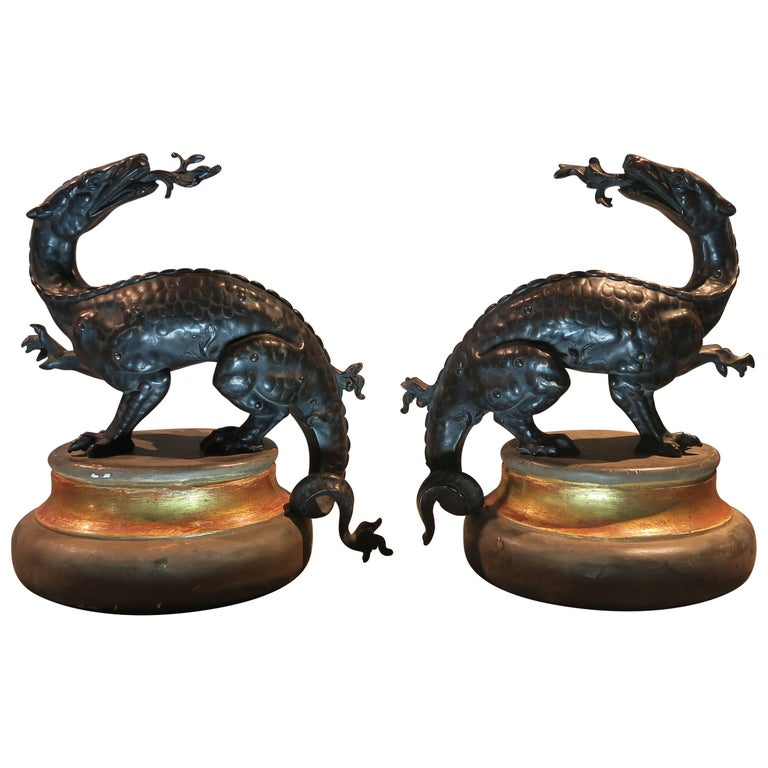 Pair of French 18th Century Patinated Bronze Dragons