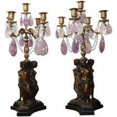 Pair of Louis XVI Gilt Bronze Candelabra with Rock Crystal and Amethyst