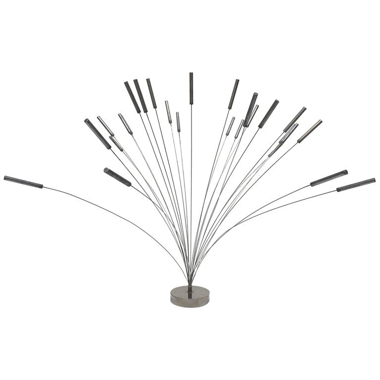 1970s Harry Bertoia Style Steel Kinetic Spray Sculpture