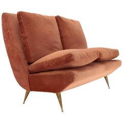 Italian Two-Seat Brass Legs Sofa