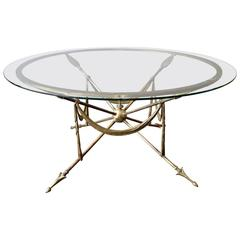 Circular French Brass Cocktail Table
