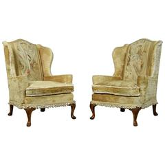 Pair of Queen Anne Wingback Armchairs