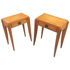 Pair of Art Deco Stamp Oak Side Tables, circa 1940