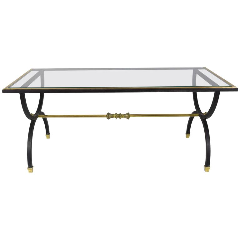 Neoclassical Black Steel, Brass and Bronze Coffee Table, 1950s