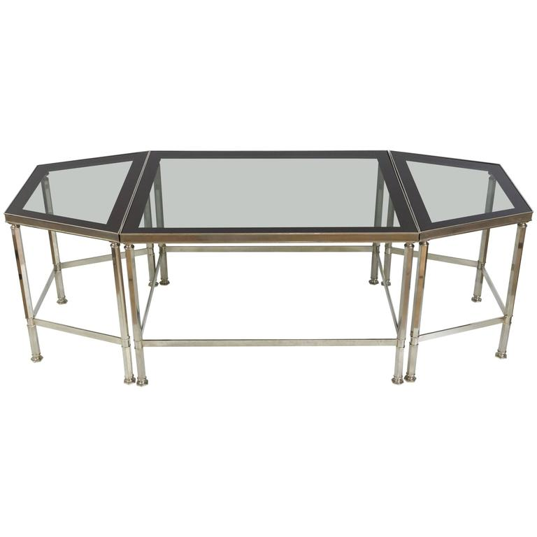 French three piece coffee table with grey glass in the style of maison jansen for sale at 1stdibs One piece glass coffee table