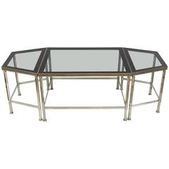 French Three-Piece Coffee Table with Grey Glass in the Style of Maison Jansen