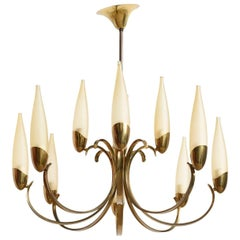 Large Stilnovo Style Brass Sputnik Chandelier, 1950s, Modernist Design