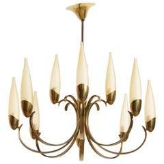 Large Stilnovo Style Brass Sputnik Chandelier, 1950s, Modernist Design