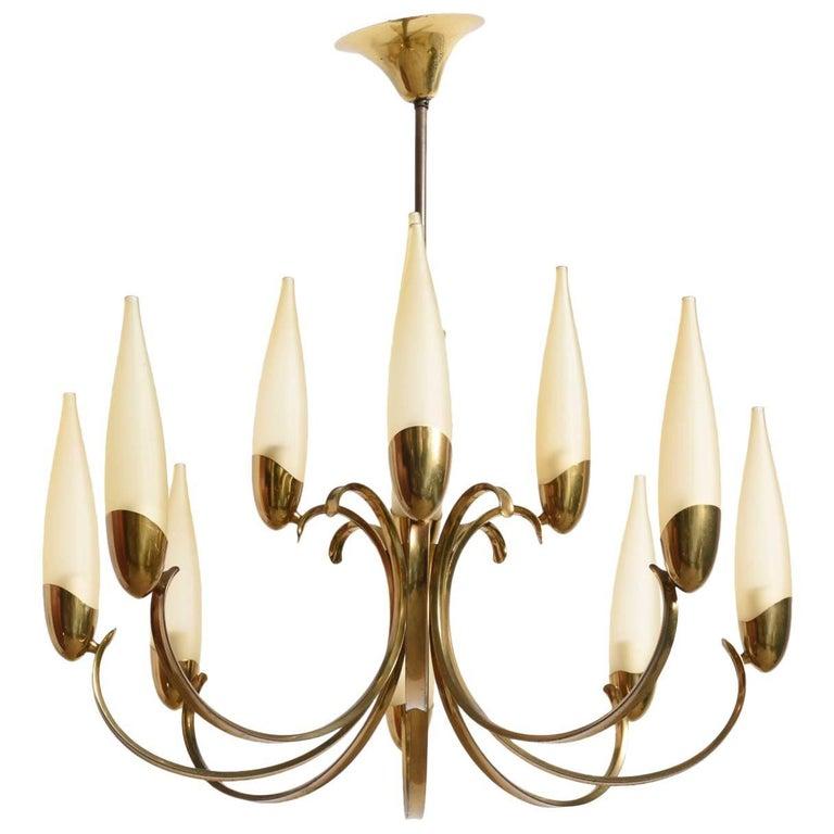 Large Stilnovo Style Brass Sputnik Chandelier, 1950s, Modernist Design For Sale