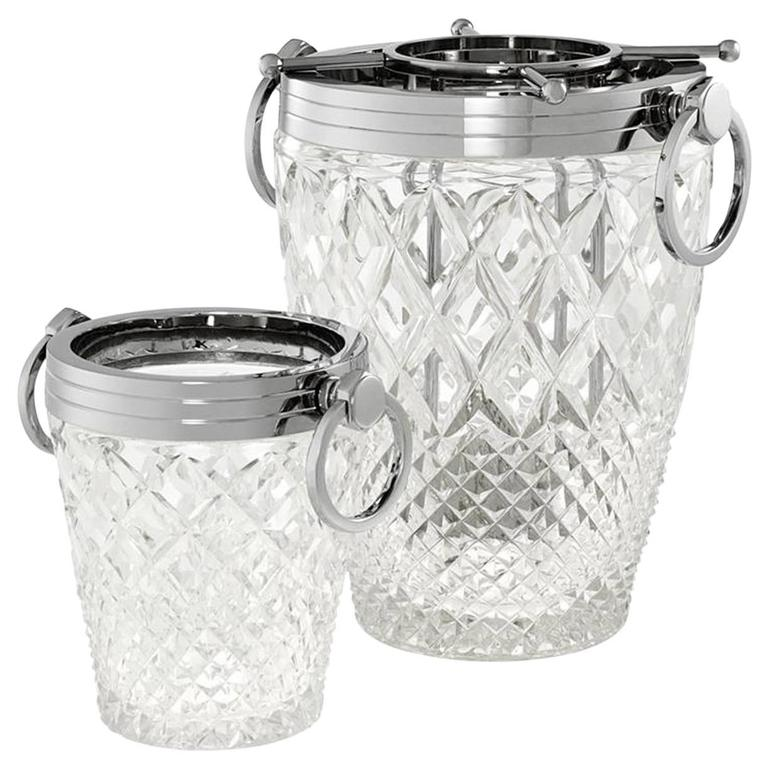 Weston Wine Cooler Set of Two in Hand-Cut Clear Glass