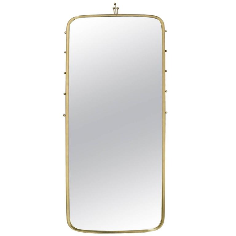 Large italian brass framed wall mirror at 1stdibs for Large framed wall mirrors