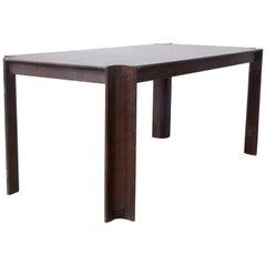 1974, Gijs Bakker for Castelijn, Brown Varnished Rectangel Strip Dining Table