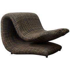 Rare Pop Art Duck Beak Easy Chair in Original Fabric, circa 1960