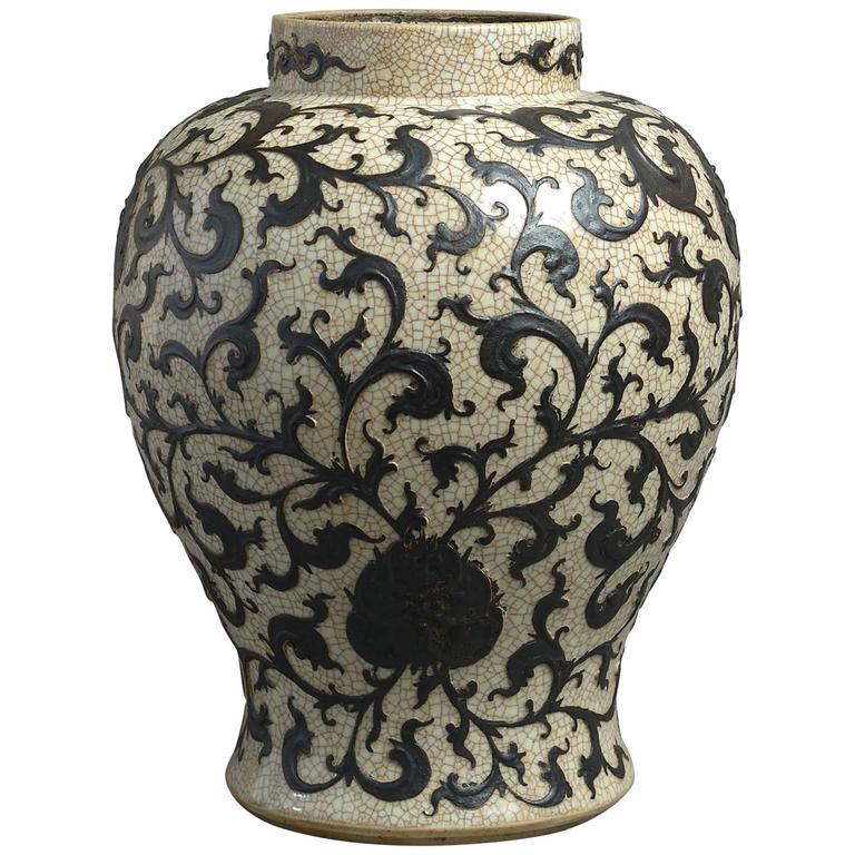 19th Century Crackleware Baluster Vase