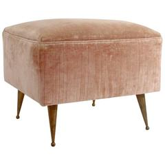 Pink Velvet Pouf with Brass Legs