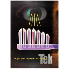 Original Vintage Mid-Century Modern Design Advertising Poster for Tek Toothbrush