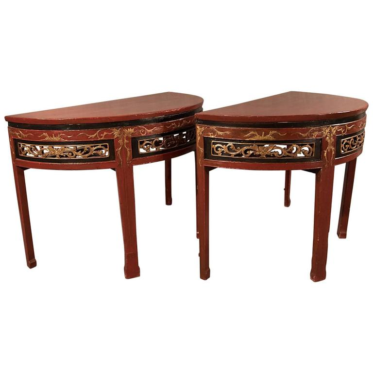 Antique centre display table pair of demilune side lamp for Antique chinese tables for sale