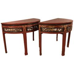 Pair of Antique Chinese Demilune Tables, circa 1890-1920