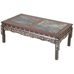 19th Century Chinese Low Table with Marble Tops