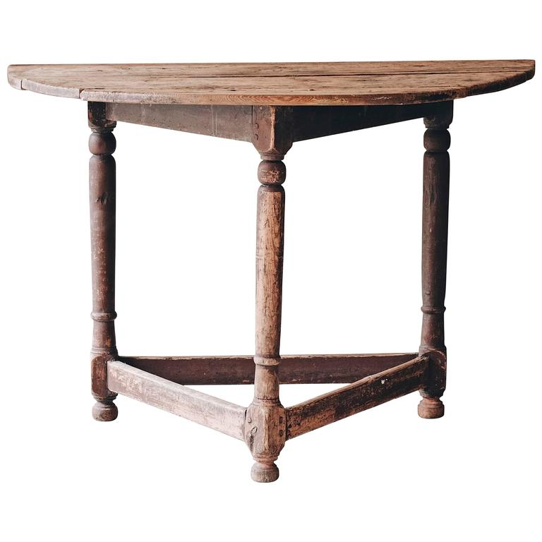 Swedish 18th Century Baroque Demilune Console Table For Sale