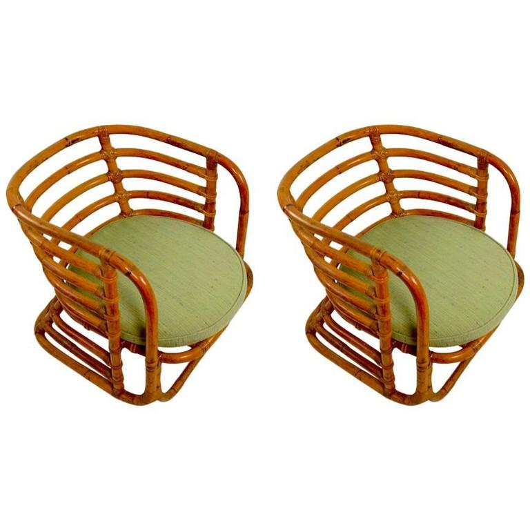 Pair of Ritts Tropitan Bamboo Tub Chairs Possibly Frankl Design