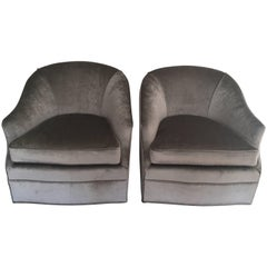 Pair of Milo Baughman Style Grey Swivel Chairs