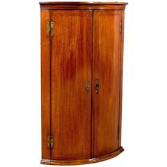 Antique Bow Front Corner Cabinet Cupboard Mahogany English Georgian, circa 1780