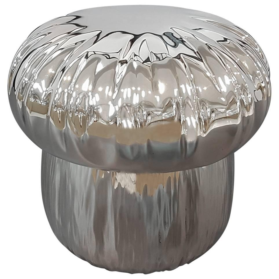 20th Century Italian Mushroon shape Silver Box. Embosse and chiselled by hand
