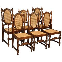 Oak Chairs Set Six Kitchen Dining Country Quality Bergere Art Deco, circa 1950