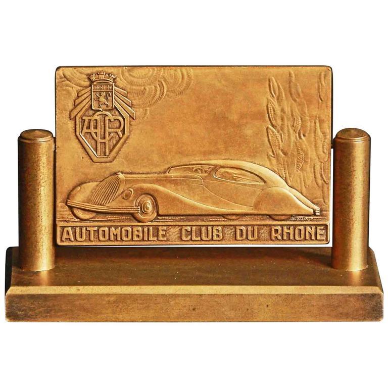 """""""Automobile Club of Rhone,"""" Art Deco Bronze Desk Accessory, Talbot-Lago For Sale"""