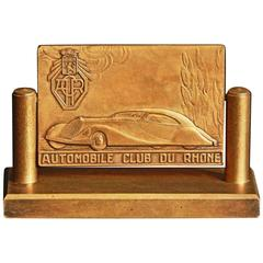 """Automobile Club of Rhone,"" Art Deco Bronze Desk Accessory, Talbot-Lago"