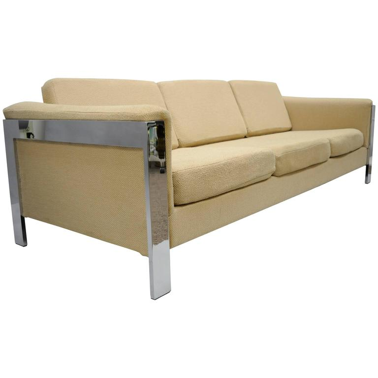 Milo Baughman For Thayer Coggin Polished Chrome Sofa Flat Bar Frame