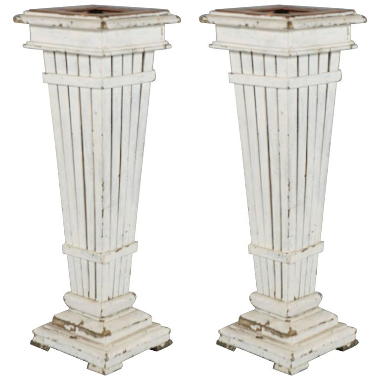 Rustic Pair of Copper and Wood Garniture/Vases For Sale